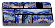 Blue Agate Mosaic Watercolor Collage Portable Battery Charger