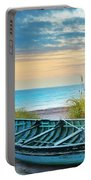 Blue Boat At Dawn Portable Battery Charger