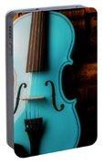 Blue Violin And Old Books Portable Battery Charger