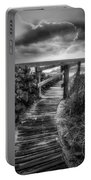Boardwalk To The Sea In Radiant Black And White Portable Battery Charger