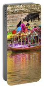 Boat And Bank Of The Narmada River, India Portable Battery Charger
