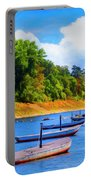 Boats At The Ferry Crossing Painting Portable Battery Charger