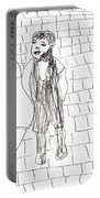 Boy On The Street Pencil Drawing Portable Battery Charger