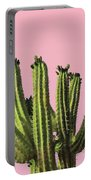 Cactus - Minimal Cactus Poster - Desert Wall Art - Tropical, Botanical - Pink, Green - Modern Prints Portable Battery Charger