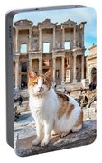 Cat In Front Of The Library Of Celsus Portable Battery Charger