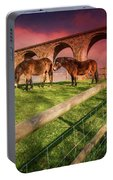 Cefn Viaduct Horses At Sunset Portable Battery Charger