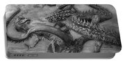 Chinese Dragons In Black And White Portable Battery Charger