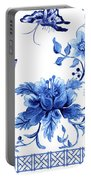 Chinoiserie Blue And White Pagoda With Stylized Flowers Butterflies And Chinese Chippendale Border Portable Battery Charger