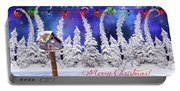 Christmas Card With Bird House Portable Battery Charger