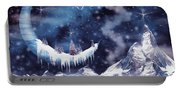 Christmas Card With Frozen Moon Portable Battery Charger
