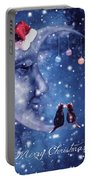Christmas Card With Smiling Moon And Cats Portable Battery Charger