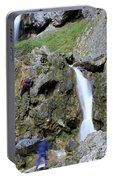 Climbers Making Their Way Up The Cliffs Of Gordale Scar Portable Battery Charger