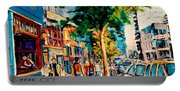 Colorful Cafe Painting Irish Pubs Bistros Bars Diners Delis Downtown C Spandau Montreal Eats         Portable Battery Charger