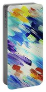 Colorful Rain Fragment 6. Abstract Painting Portable Battery Charger