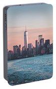 Colorful Sunrise Over The New York Skyline And The Statue Of Lib Portable Battery Charger