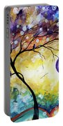 Colorful Whimsical Original Landscape Tree Painting Purple Reign By Megan Duncanson Portable Battery Charger