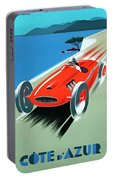 Cote D Azur, French Rivera Vintage Racing Poster Portable Battery Charger
