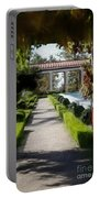 Painted Texture Courtyard Landscape Getty Villa California  Portable Battery Charger