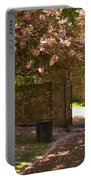 Crichton Church Entrance Gate And Tree In Pink Bloom Portable Battery Charger