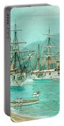 Cruiser And Gunboat Hoist On Ponape The German Flag Portable Battery Charger
