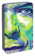 David Bowie Portrait In Aqua And Green Portable Battery Charger