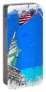 Defending Liberty Watercolor By Ahmet Asar Portable Battery Charger