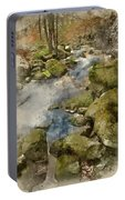 Digital Watercolor Painting Of Autumn Fall Forest Landscape Stre Portable Battery Charger