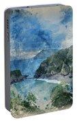 Digital Watercolor Painting Of Beautiful Dramatic Sunrise Landsa Portable Battery Charger