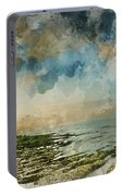 Digital Watercolor Painting Of Beautiful Landscape Panorama Suns Portable Battery Charger