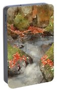Digital Watercolor Painting Of Blurred Water Detail With Rocks N Portable Battery Charger