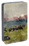 Digital Watercolor Painting Of Cattle In Field During Misty Sunr Portable Battery Charger