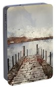 Digital Watercolor Painting Of Landscape Image Of Derwent Water  Portable Battery Charger