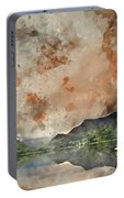 Digital Watercolor Painting Of Llyn Nantlle At Sunrise Looking T Portable Battery Charger
