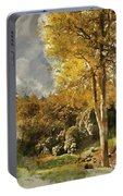 Digital Watercolor Painting Of Stunning Vibrant Autumn Forest La Portable Battery Charger