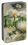 Digital Watercolor Painting Of Wild Daisy Flowers In Wildflower  Portable Battery Charger