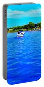 Dunkirk New York Harbor With Neon Effect By Rose Santucisofranko Portable Battery Charger by Rose Santuci-Sofranko