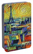 Eiffel Tower And Paris Rooftops In Sunlight Textural Impressionist Stylized Cityscape Mona Edulesco Portable Battery Charger