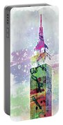 Empire State Building Colorful Watercolor Portable Battery Charger