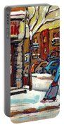 Face Off Street Hockey At The Corner Dep Snow Falling Streets Of Montreal Quebec Artist C Spandau Portable Battery Charger