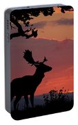 Fallow Stag At Sunset Portable Battery Charger