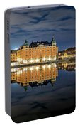 Fantastic Stockholm City Hall And Gamla Stan Reflection With Clouds Portable Battery Charger
