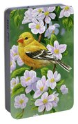 Female American Goldfinch And Apple Blossoms Portable Battery Charger