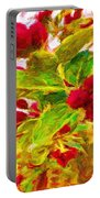 Festive Red Berries On Dancing Green Leaves Portable Battery Charger