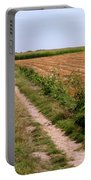 Field With Brown Cut Flax In Rows Drying In The Sun Portable Battery Charger