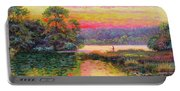 Fishing In Evening Glow Portable Battery Charger