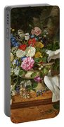 Flowers In A Vase With Two Doves Portable Battery Charger