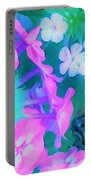 Garden Flowers In Pink, Green And Blue Portable Battery Charger