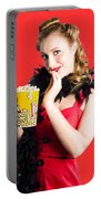 Glamorous Woman Holding Popcorn Portable Battery Charger