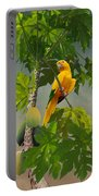 Golden Parakeet In Papaya Tree Portable Battery Charger