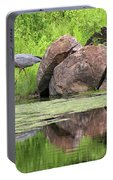 Great Blue Heron And Boulder Portable Battery Charger